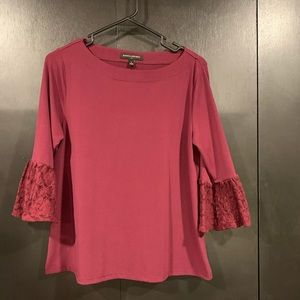 Maroon blouse with lacy sleeves size S